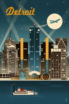 Detroit, Michigan - Retro Skyline - Lantern Press Poster