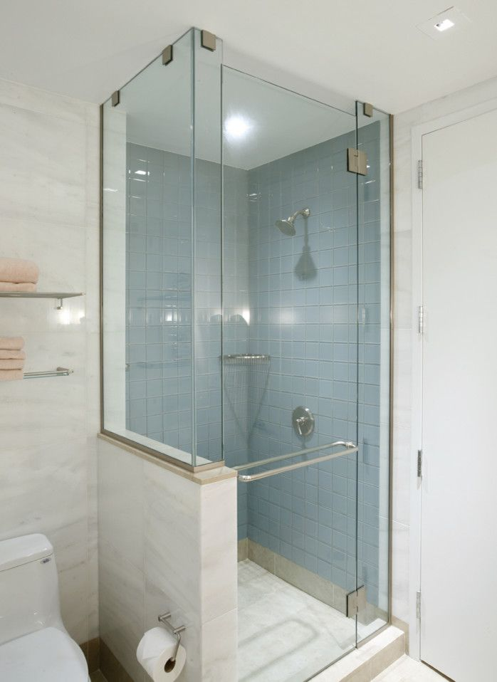 this design half wall and shower door all glass to let in more light but maybe with jets and adjustable shower head small bathroom tiled corner shower - Bathrooms Showers Designs
