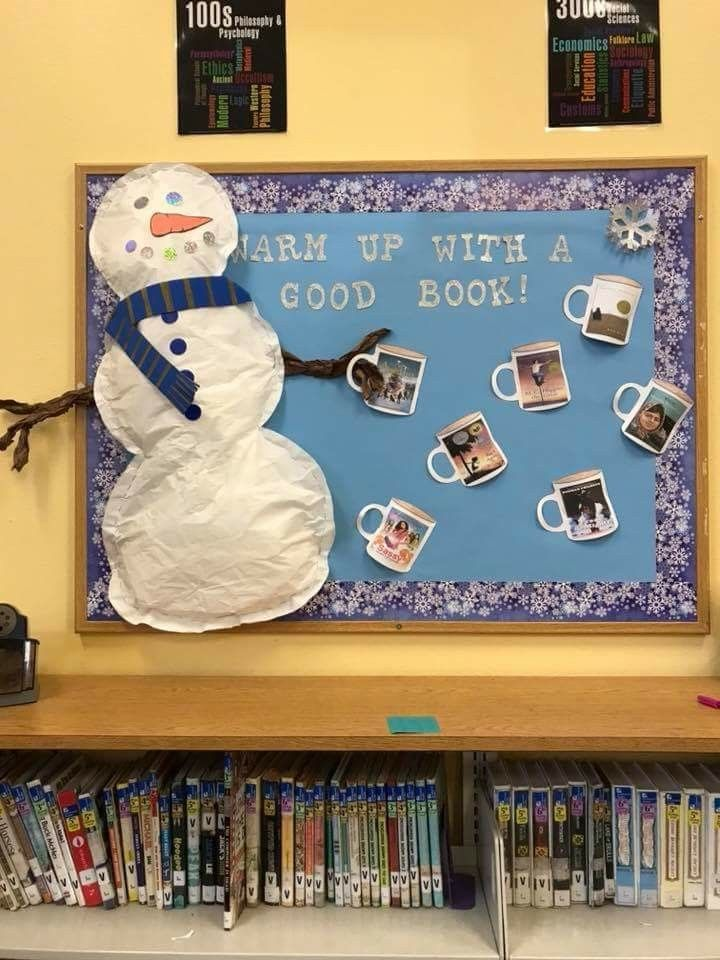 Warm Up With A Good Book Library Bulletin Boards Winter Bulletin Boards School Library Displays