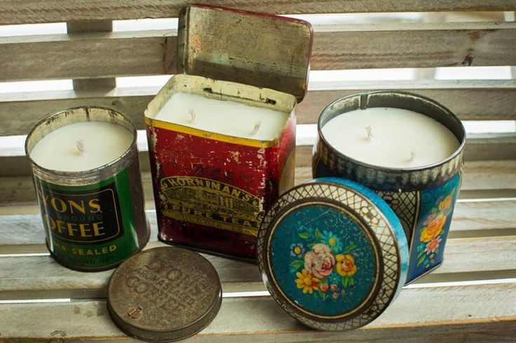 A selection of beautiful vintage tin candles by Serendipity Candles www.serendipitycandles.co.uk available from www.handmade-boutique.co.uk
