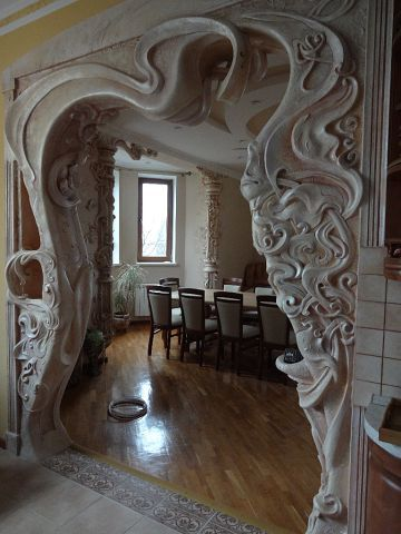 Amazing arts and crafts art nouveau moulded plaster or carved stone doorway arch