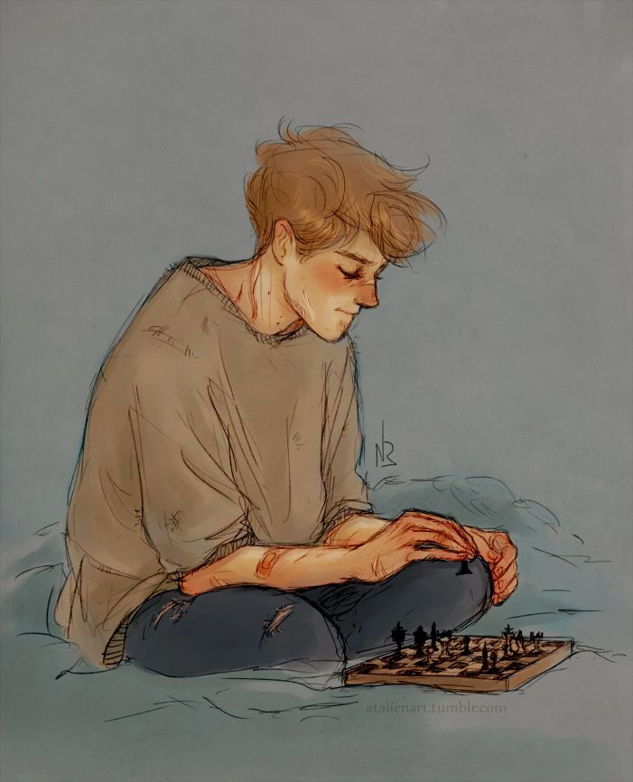Remus Lupin playing chess by Natello