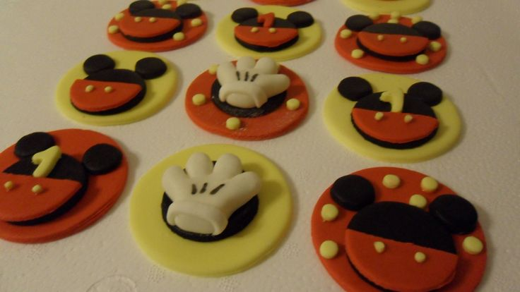 Fondant Mickey Mouse Inspired Cupcake Toppers. $16.00 USD, via Etsy.