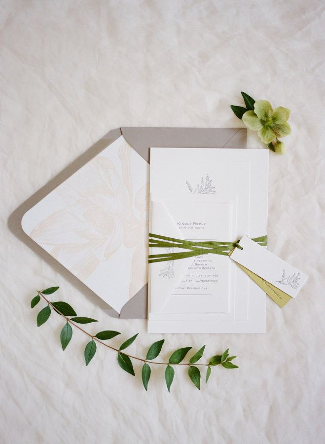 Gray and greenery wedding invitation: http://www.stylemepretty.com/2017/05/10/a-springtime-wedding-at-cavallo-point/ Photography: Feather and Stone - http://featherandstone.co/