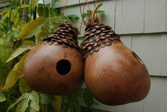 Natural Birdhouse Gourd with Pinecone Petal by pompompurses, $35.00