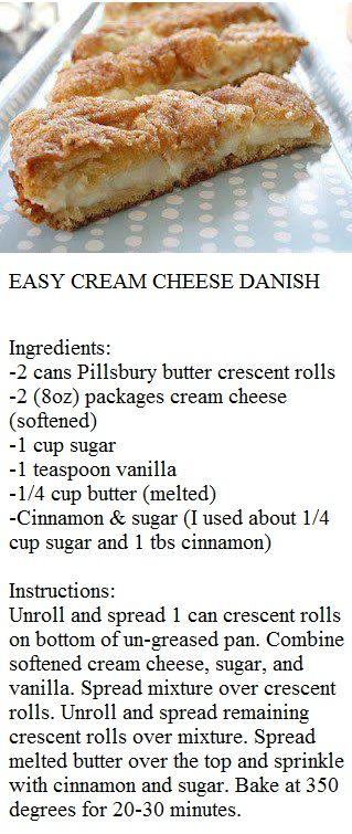 EASY CREAM CHEESE DANISH | sweets | Pinterest | Cream Cheese Danish ...