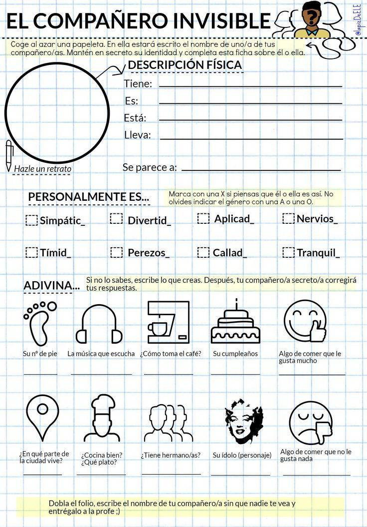 """Recursos didácticos para imprimir, ver, leer: """"El compañero invisible"""" (Ficha de lapizdeele. blogspot.com)"""