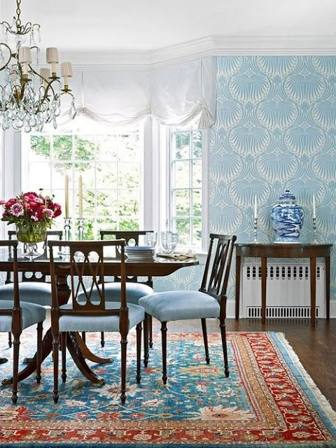 Farrow And Ball S Lotus Wallpaper In Charleston Dining