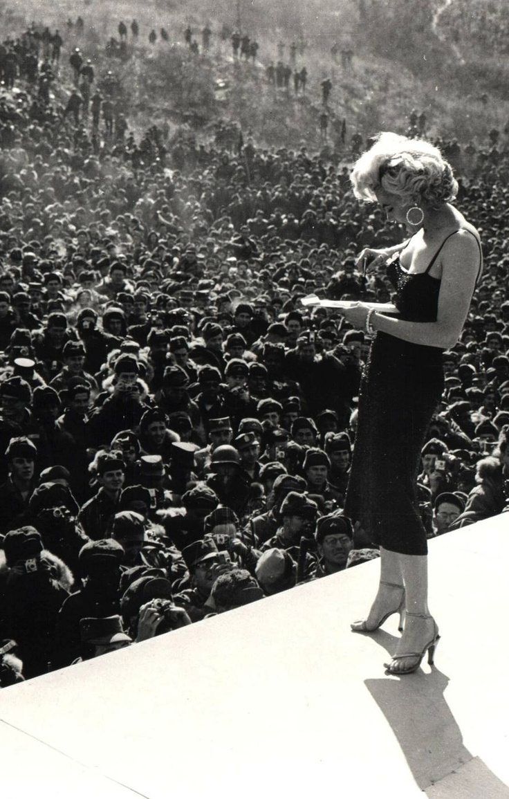 Marilyn Monroe in Korea to entertain the troops - February 1954 | wartime | 1950's | performance | amazing image | WW2 | WWII | perform | iconic | icon