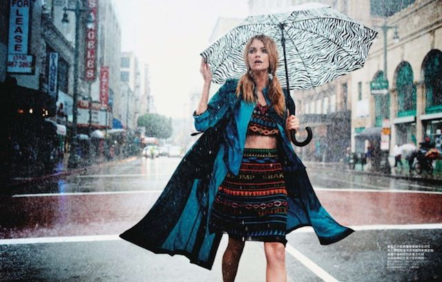 """The Terrier and Lobster: """"Fun in the Rain"""" by David Burton for Elle Taiwan"""