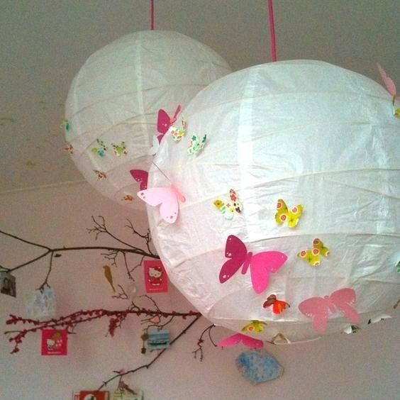 Plain paper lanterns are a great way for kids to get creative! Let them create some paper characters to decorate their bedroom light with... Super fun!
