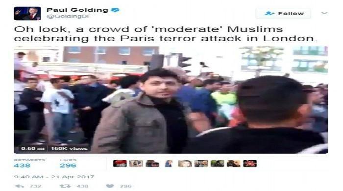 Far-right UK politician posts fake video claiming Pakistani cricket fans were celebrating Paris attack - https://www.pakistantalkshow.com/far-right-uk-politician-posts-fake-video-claiming-pakistani-cricket-fans-were-celebrating-paris-attack/ - https://www.geo.tv/assets/uploads/updates/2017-04-21/l_138983_105105_updates.jpg