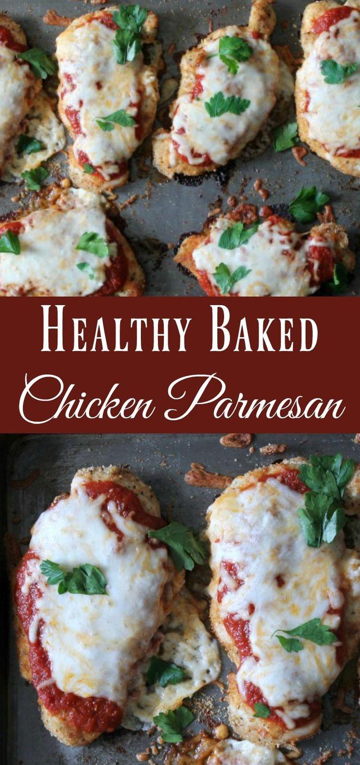 Gesundes gebackenes Hühnchen-Parmesan Wenn Sie auf der Suche nach einem gesunden, …