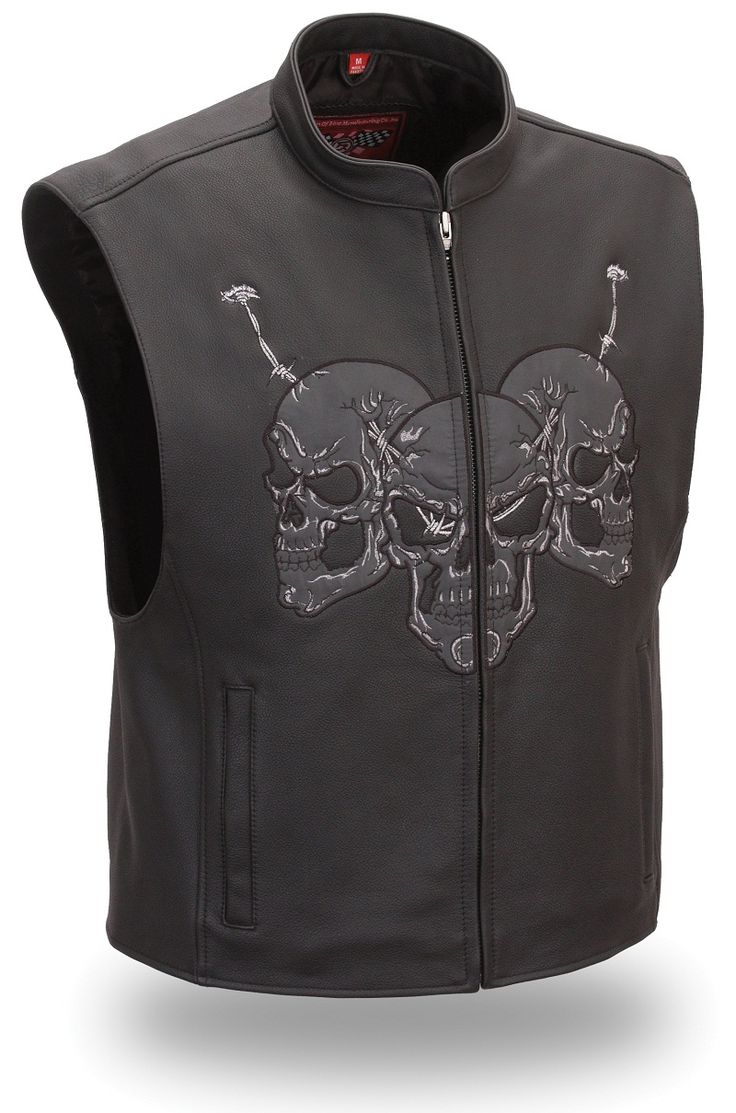 Diavolo leather motorcycle gloves - Mens Raceway Skull Leather Motorcycle Vest By First Mfg Www Mymotorcycleclothing Com