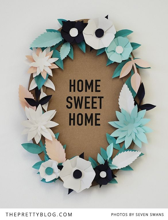 DIY Paper Flower Wreath or Frame:  free printable download of flower templates numbered with directions. Print on your choice of colored &/or printed papers. Cut out templates, assemble as directed with double sided foam tape (to give them more dimension).