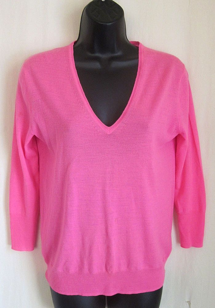 5d2f2eb3485 J CREW Women's Hot Pink 100% Merino Wool V-Neck Sweater XS XSmall ...