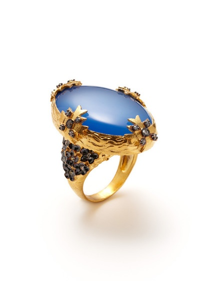 Blue Onyx & Clear CZ Oval Shaped Textured Ring by Azaara on Gilt.com