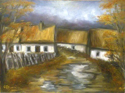 Elhagyatott falu Olaj festmény 30 x 40 cm