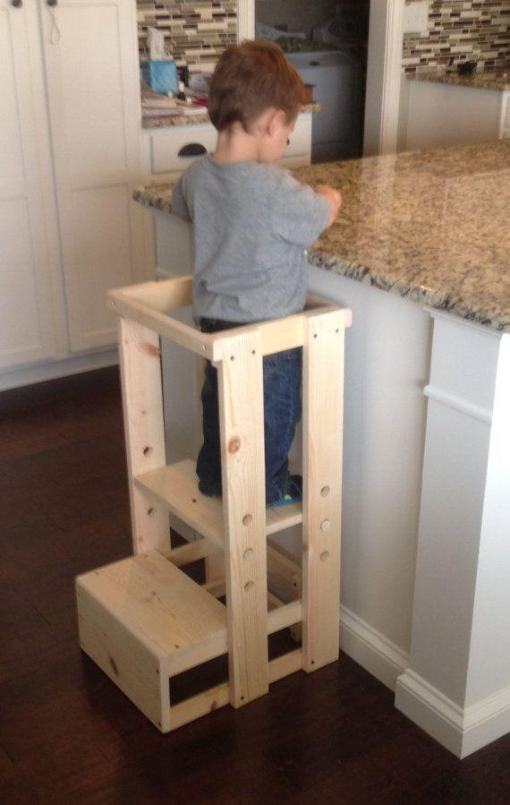 Child Kitchen Helper Step Stool von TeddyGramsTotTowers auf Etsy
