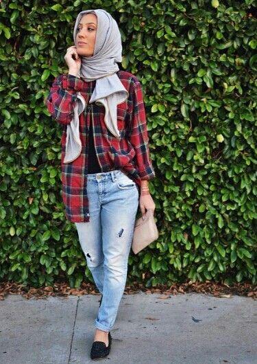 Boyfriend jeans + Checkered shirts