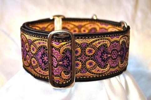Martingale Collar: Purple and Gold Jacquard - 2 Inch - Greyhound Collar, Whippet Collar, Great Dane Collar, Saluki Collar, Custom Dog Collar...