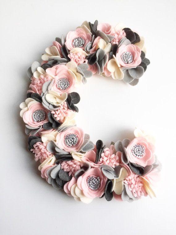 Flower Monogram - Floral Monogram - Felt Flowers - Baby Girl Nursery Decor - Wedding Monogram - Flower Decor - Photography Prop Baby