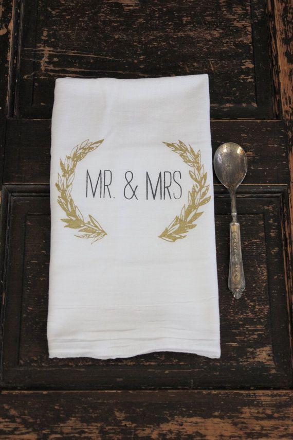 1 Mr. & Mrs Towel  Flour sack Towel  Dish by ModernVintageMarket, $10.00