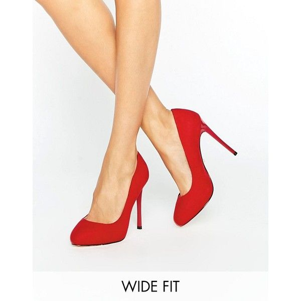 Faith Wide Fit Candy Red Court Shoes ($59) ❤ liked on Polyvore featuring shoes, pumps, red, high heel stilettos, hidden platform pumps, pull on shoes, stiletto heel shoes and red slip on shoes