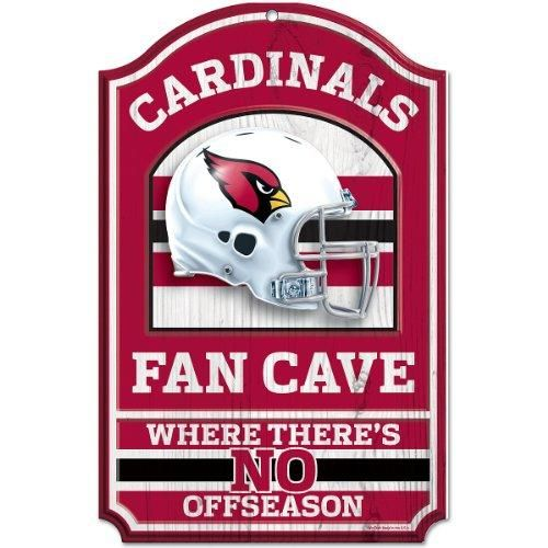 """The NFL Wood Arizona Cardinals Fan Cave Sign is11"""" x 17"""". It is durable and wipes clean. Use Indoors or outdoors. Made with vibrant colors. USA. Visit SportsFansPlus.com for Details."""