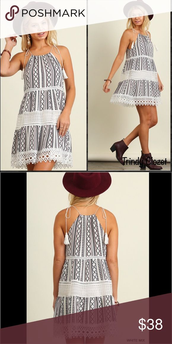 "Host Pic Best in Boutiques Halter Neck Dress Lace Detailed Printed Dress. Tasseled ties. Black with (sheer) white lace & burgundy stripes. (See last pic for Detailed colors) Size Small fits 2/4. Bust is 35-36"". Medium fits a 6/8. Bust is 37-38"". Large fits a 10/12 and bust is 39-40"". Trindy Clozet Boutique Dresses Mini"
