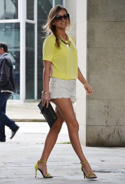 Crochet & Yellow  , Gucci in Glasses / Sunglasses, Massimo Dutti in T Shirts, Zara in Pants, Zara in Heels / Wedges, Tous in Clutches, Blanco in Jewelry: Fashion, Inspiration, Style, Crochet, Outfit, Shorts, Summer, Yellow, T Shirts