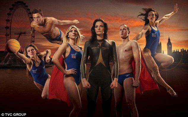 Superheros: (From left) Fran Leighton, Tom Daley, Rebecca Adlington, Keri-anne Payne, Sascha Kindred and Katie Dawkins