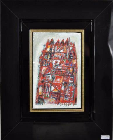 """Lote 119 - Manuel Cargaleiro (ORIGINAL), oleo s/tela, motivo """"Composition rouge (Composição vermelha)"""", assinada, datada de 1974, com 22x14 (numa luxuosa moldura moderna). NOTA: Manuel Cargaleiro foi considerado o melhor artista Português. A obra em venda possui um valor estimado em galeria de 10.000 euros. - Price Estimate: €0 - $0"""