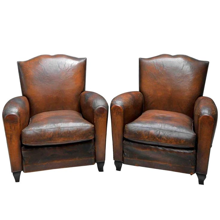 1930s small french art deco moustache leather lounge club chairs - Leather Club Chairs