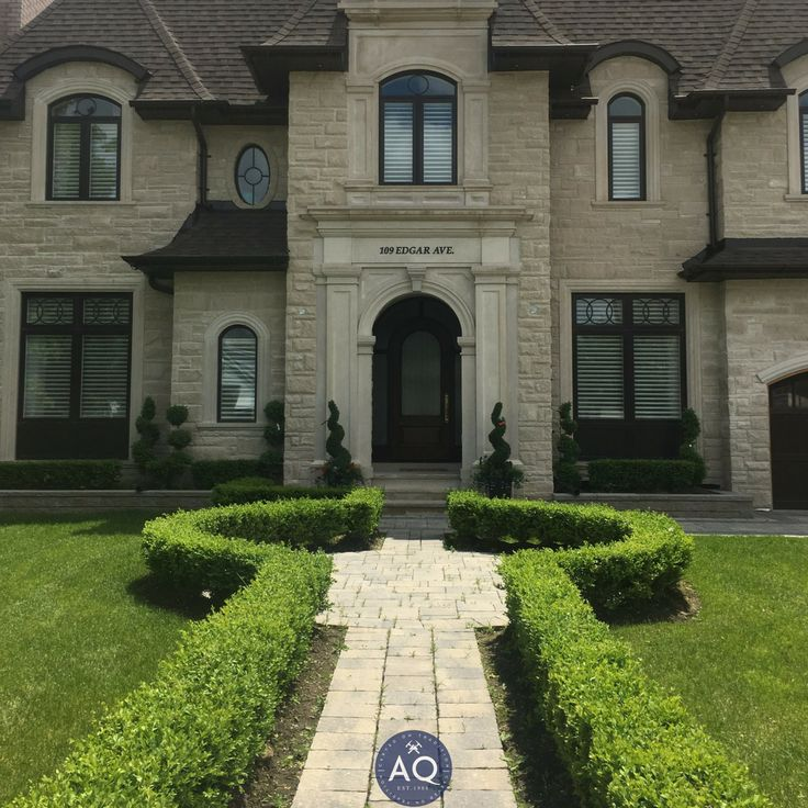 What a clean and exquisite statement on this custom home's exterior and front landscsaping! Contact us today to learn how we can help you with your next project: www.allstonequarry.com Materials used: Indiana Limestone pavers and coping. #Allstone