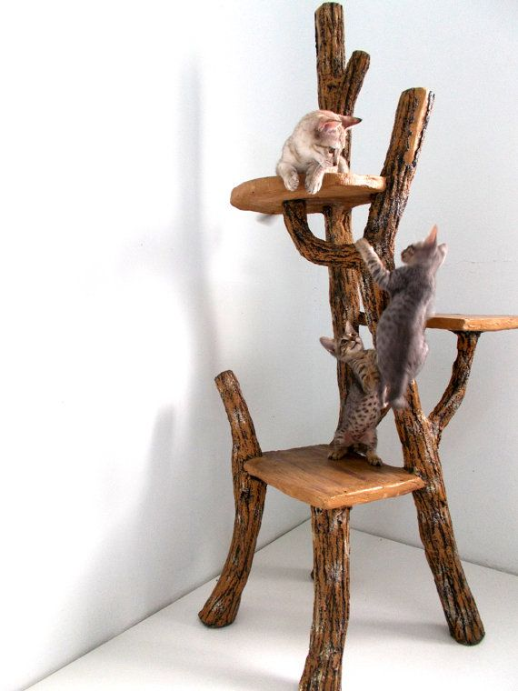 Charming Wood Cat Furniture Part - 10: CHRISTMAS SALE Cat Tree - Climb-a-Tree For Cat - Rustic Handmade Faux Wood  Cat Tree Outdoor Indoor Pet Playground.