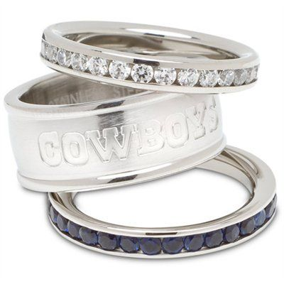 Logo Art Dallas Cowboys Ladies Spirit Crystal Stacked Ring Set - yeah, I kinda think I NEEd these