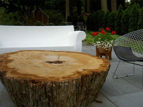 Tree stump patio tableTrees Trunks, Coffee Tables, Stumps Coffee, Trees Tables, Tree Stumps, Big Trees, Stumps Tables, Patios Tables, Trees Stumps