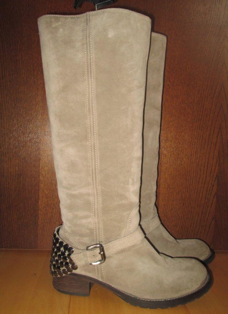 * * * JFK Velour-Stiefel mit Nieten beige, Gr.39,5 * * * | eBay