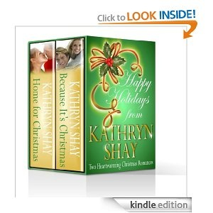 """As a holiday gift for her readers, Kathryn Shay offers two of her most popular backlist books, HOME FOR CHRISTMAS (formerly A CHRISTMAS LEGACY) and BECAUSE IT'S CHRISTMAS at nearly half price. Follow a high powered CEO and a high school principal as they learn the true meaning of life and happiness through the women they love. """"Hope Santa drops this one into your stocking!"""" The Romance Reader"""