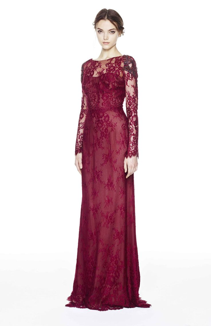 Notte by Marchesa deep red lace evening dress