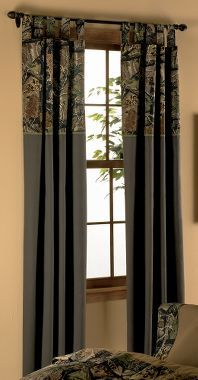 Cabela's: Camo Patchwork Solid Drapes.cute for the boys room or mine..