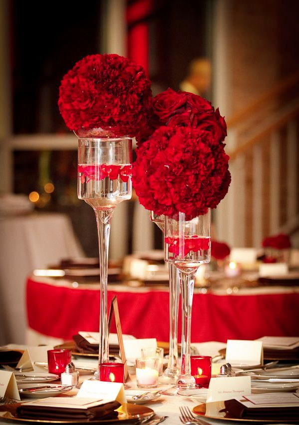12 Striking Red Wedding Reception Ideas. To See More: Http://www