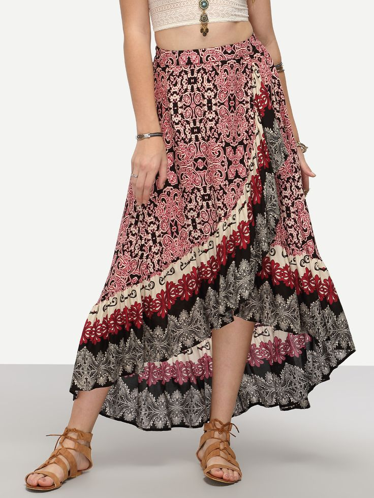 Multicolor Wrap Floral Print High Low Skirt -SheIn(Sheinside)