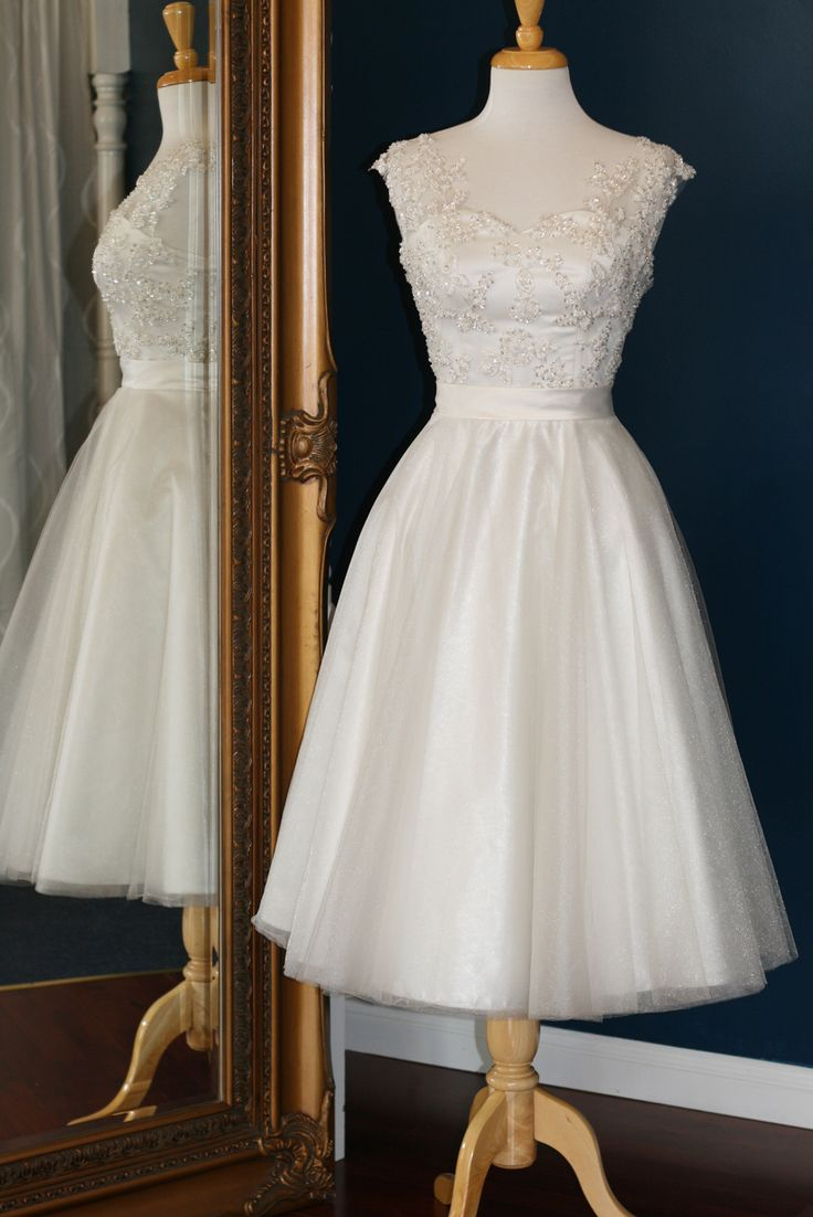 Audrey Lynn Vintage Bridal Alexia Dress | Tea length wedding dress with beaded lace cap sleeves, sweetheart neckline, full tulle skirt and matching belt
