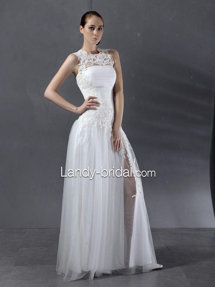 Lovely Floor Length Sheath Column Tank Top Tulle Ivory Wedding Dress B