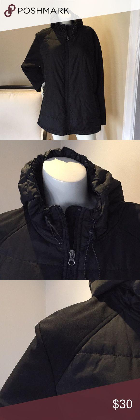 FREE TECH - Women's Black Zip Up Jacket w/ Hoodie Free Tech Free Tech Jackets & Coats Utility Jackets
