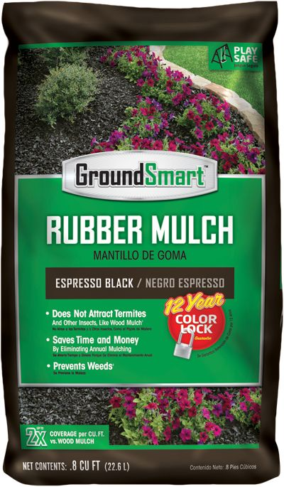 Black Rubber Mulch Espresso Bag Package GroundSmart -12 Year Color Lock Guarantee - Made from old tires - Blocks weeds - Does not attract pests