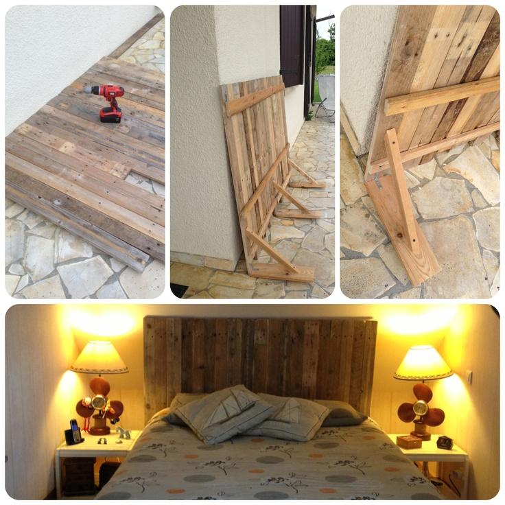 Mi nueva cabecera de cama, con madera de paletas.
