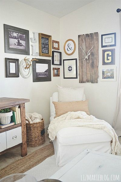 DIY corner gallery wall - how to create a lovely gallery wall with out putting any holes in the wall!: